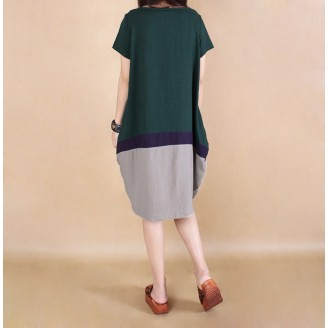 Fashion Three-Tone Round Neck Casual Dress