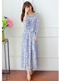 Fashion V Neck Puff Sleeve Chiffon Maxi Dress