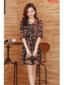 Fashion Retro Design Puff Sleeve Chiffon Dress