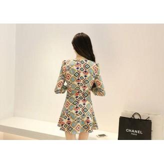 Fashion Retro Design Round Neck Dress