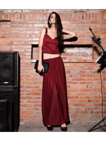 Fashion Two-Piece Deep V Singlet With Long Skirt