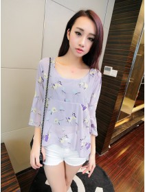 Trendy Butterfly Design Ruffles Puff Sleeve Bare Back Top