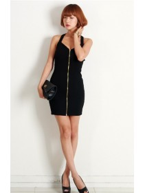 Fashion Cross Back Design Full Zip Dress