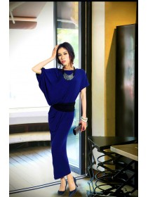 Fashion Asymmetric Sleeve Slim Long Dress