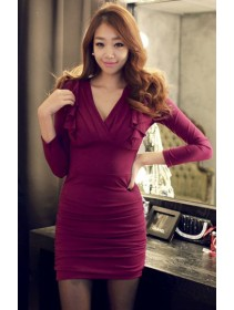 Fashion Deep V Long Sleeve Slim Dress