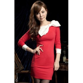 Fashion Basic Long Sleeve Slim Dress With Big Ribbon