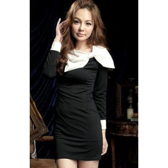 Fashion Basic Long Sleeve Slim Dress With Big Ribbon