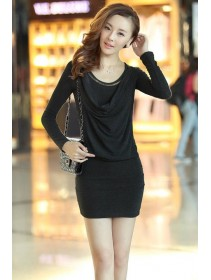 Fashion Trendy Layered Collar Long Sleeve Slim Dress