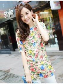 Trendy Floral Design Waist String Top