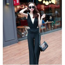 Fashion Bare Back Sexy Deep V Long Jumpsuit