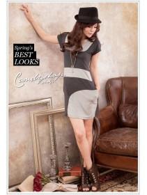 Fashion Mix Color Short Slim Dress With Side Pocket