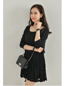 Fashion Two-Piece Joint Waist String Lace Casual Dress