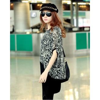 Fashion Two-Piece Joint Leopard Design Short Mini Dress