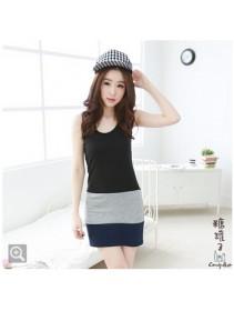 Fashion Three-Tone Sleeveless Slim Mini Dress