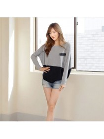 Trendy Two-Tone Loose Tunic Casual Long Sleeve Top