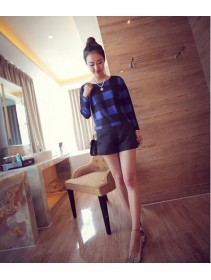 Trendy Plaid Design Long Sleeve Lady Top