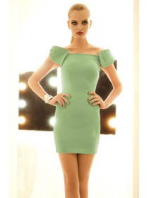 Fashion Ribbon Shoulder Slim Mini Dress