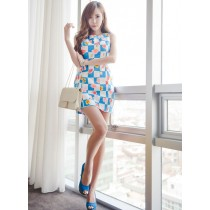 Fashion Flower Design Plaid Mini Dress