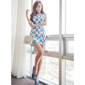 Fashion Flower Design Plaid Mini Dress