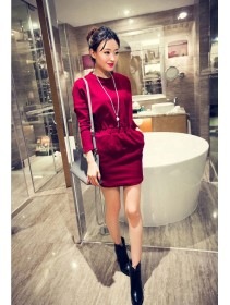 Fashion Bare Back Batwing Waist String Dress With Pocket