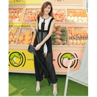 Fashion Two-Piece Joint Black And White Trendy Slit Dress