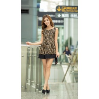 Fashion Leopard Design Sleeveless Flare Dress
