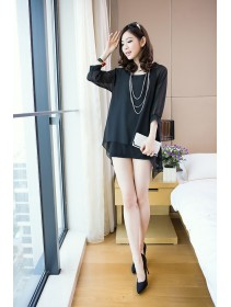 Trendy Two-Piece Joint 3/4 Sleeve Chiffon Top