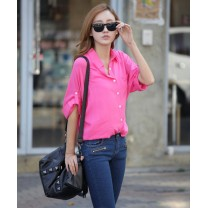 Trendy Basic Button Batwing Sleeve Casual Top