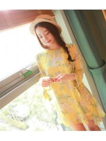 Fashion Floral Design Puff Sleeve Chiffon Dress