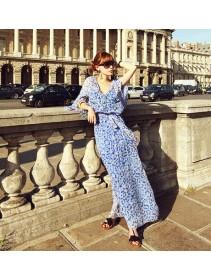 Fashion V Neck Chiffon Long Maxi Dress