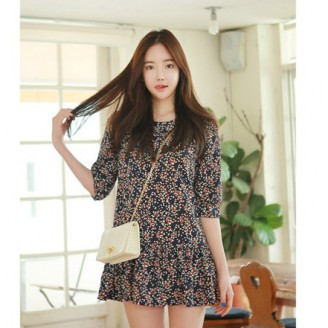 Fashion 3/4 Sleeve Retro Floral Design Dress