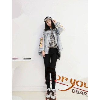 Trendy Wording Design Denim Jacket
