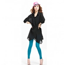 Trendy 3/4 Sleeve Chiffon Long Top (Without Buttons)