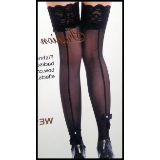 Sexy Lace Top Back Seam Ribbon Bow Bead Stockings