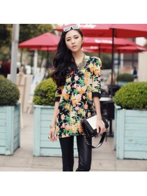 Trendy Korean Flora Half-Sleeve Top
