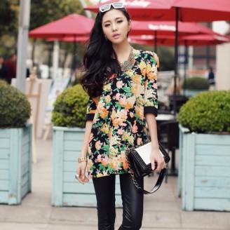 Trendy Korean Flora Half-Sleeve Top