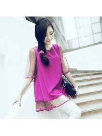 Trendy Korean Polka Lining Chiffon Half-Sleeve Top