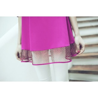 Trendy Korean Polka Lining Chiffon Half-Sleeve Top