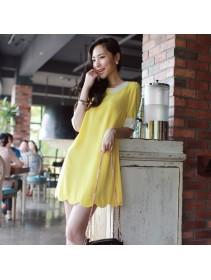 Fashion Korean Half-Sleeve Scallop Design Mini Dress