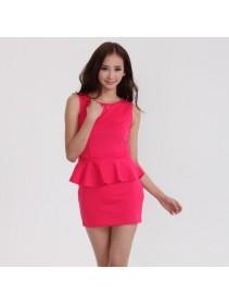 Fashion Sleeveless Peplum Mini Dress