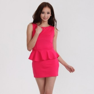 Fashion Sleeveless Peplum Mini Dress