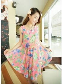 Fashion Korean Sleeveless Flora Design Dress