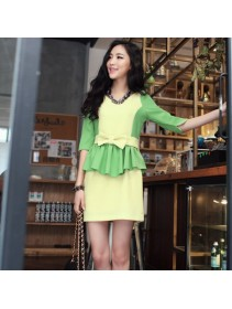 Fashion Korean Joint Color Peplum Half Sleeve Mini Dress With Belt