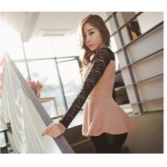 Trendy Lacey Long Sleeve Peplum Top