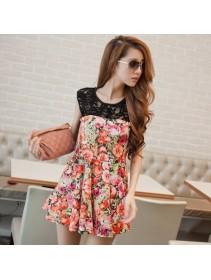 Fashion Sleeveless Lace Flora Design Dress