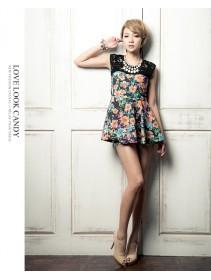 Fashion Flora Design With Lace Sleeveless Mini Dress