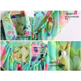 Trendy Flora Design With Collar & Button Top