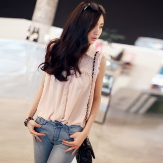 Trendy Korean Lace & Beads Design With Collar Top