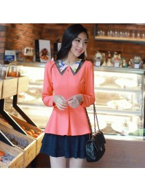Trendy Korean Long Sleeve Collar Design Top