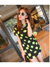 Fashion Simple Flower Design Short Sleeve Mini Dress